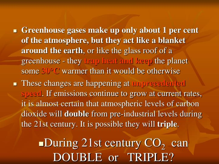 Greenhouse gases make up only about 1 per cent of the atmosphere, but they act like a blanket around the earth