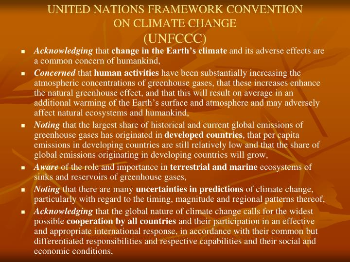 UNITED NATIONS FRAMEWORK CONVENTION