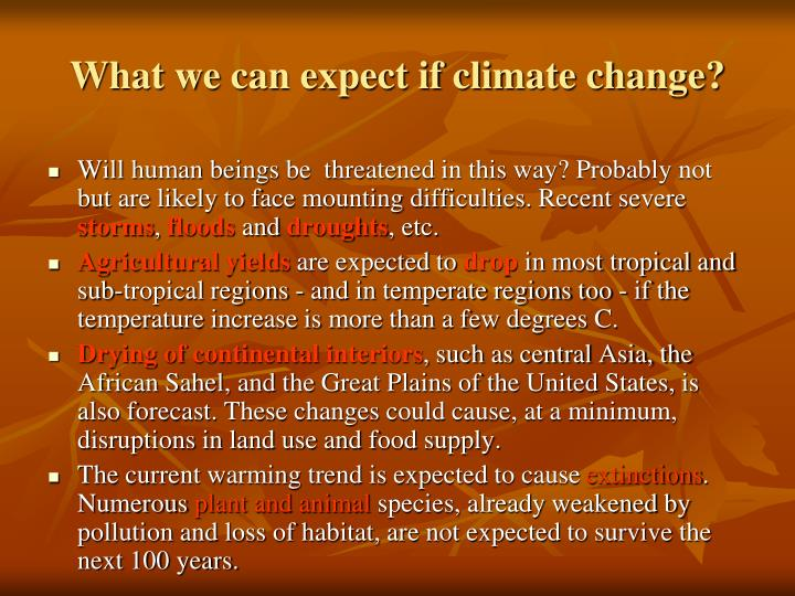 What we can expect if climate change?