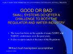 good or bad small systems do offer a challenge to both the regulator and water industry