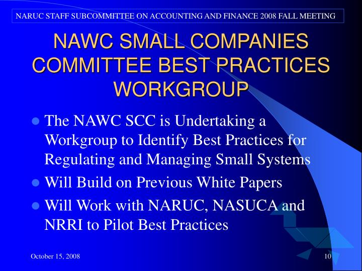 NARUC STAFF SUBCOMMITTEE ON ACCOUNTING AND FINANCE 2008 FALL MEETING