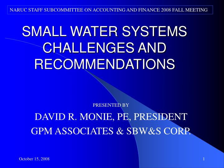 Small water systems challenges and recommendations
