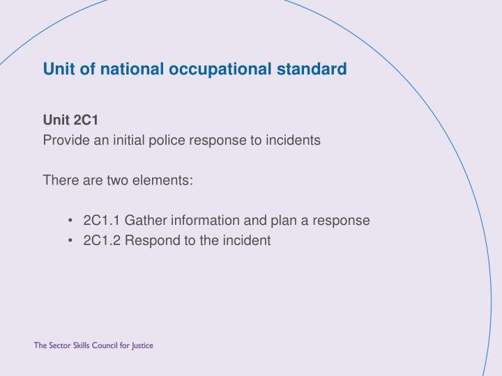 Unit of national occupational standard