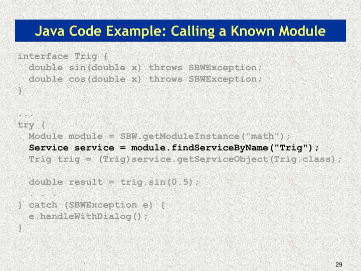 Java Code Example: Calling a Known Module