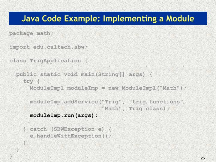Java Code Example: Implementing a Module