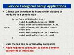 service categories group applications