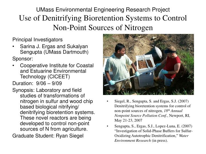 UMass Environmental Engineering Research Project