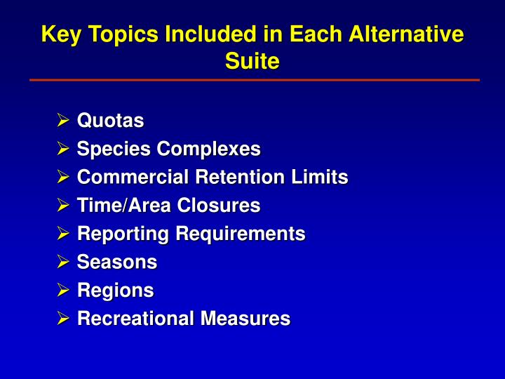 Key Topics Included in Each Alternative Suite