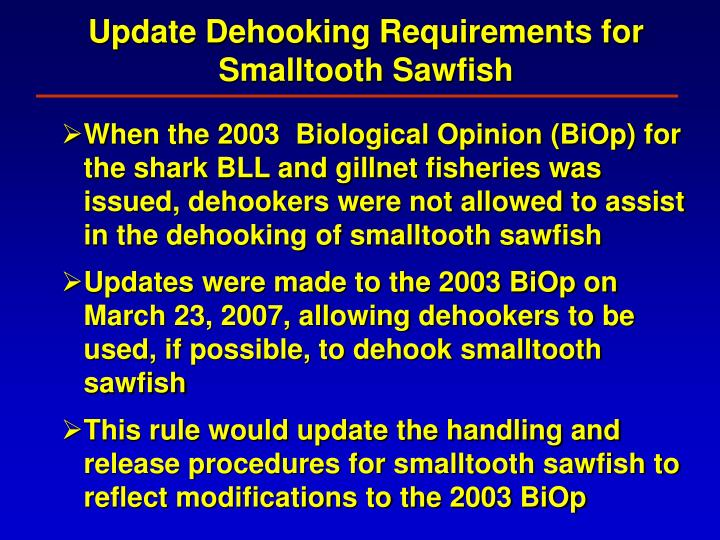 Update Dehooking Requirements for Smalltooth Sawfish