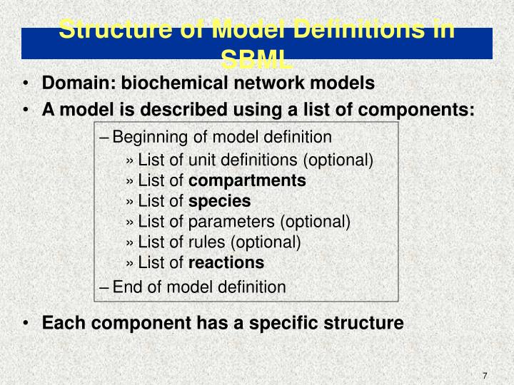 Structure of Model Definitions in SBML