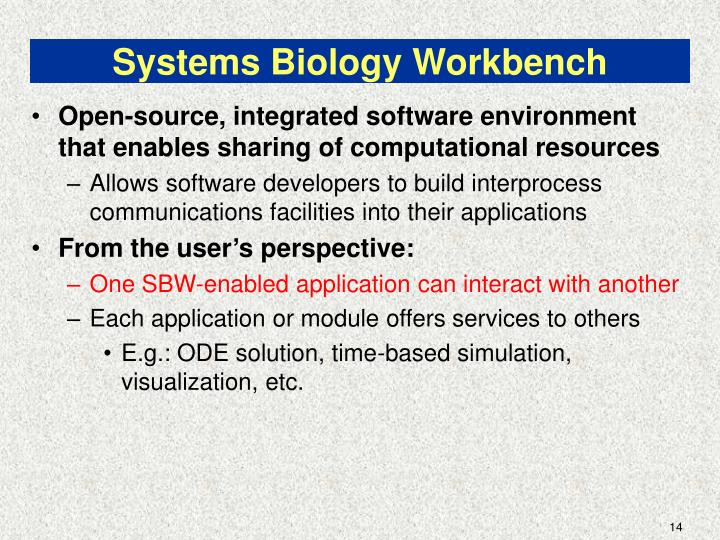 Systems Biology Workbench