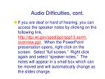 audio difficulties cont