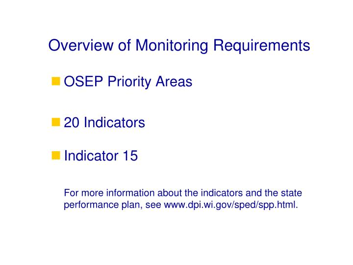 Overview of Monitoring Requirements