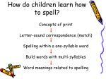 how do children learn how to spell
