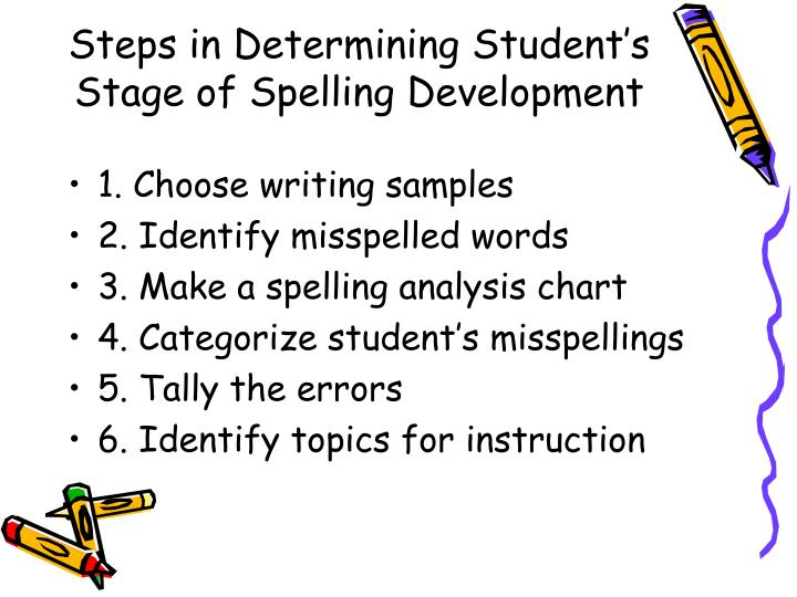 Steps in Determining Student's Stage of Spelling Development