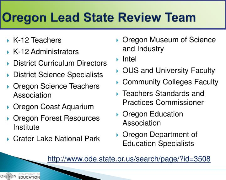 Oregon Lead State Review Team