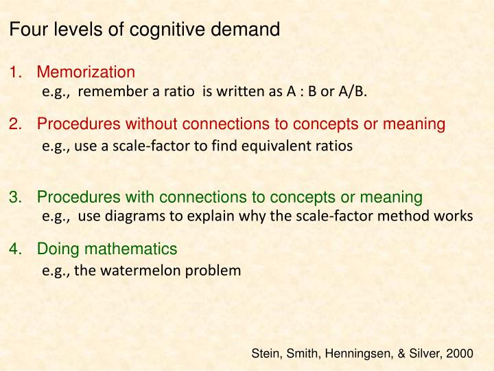 Four levels of cognitive demand