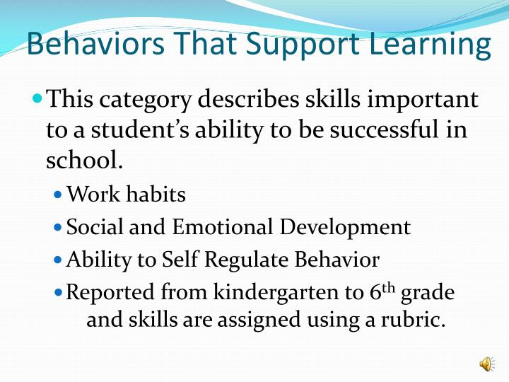 Behaviors That Support Learning