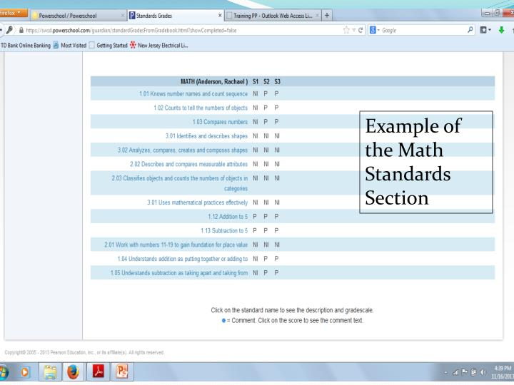 Example of the Math Standards Section