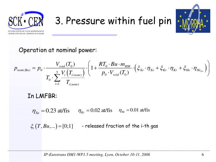 3. Pressure within fuel pin