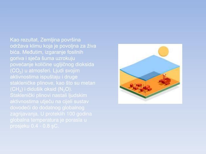 Kao rezultat, Zemljina površina održava klimu koja je povoljna za živa bića. Međutim, izgaranje fosilnih goriva i sječa šuma uzrokuju povećanje količine ugljičnog dioksida (CO