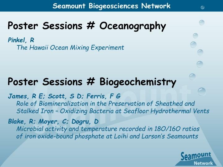 Poster Sessions # Oceanography
