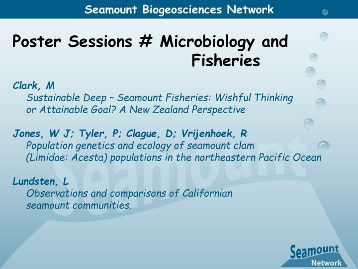 Poster Sessions # Microbiology and 						Fisheries