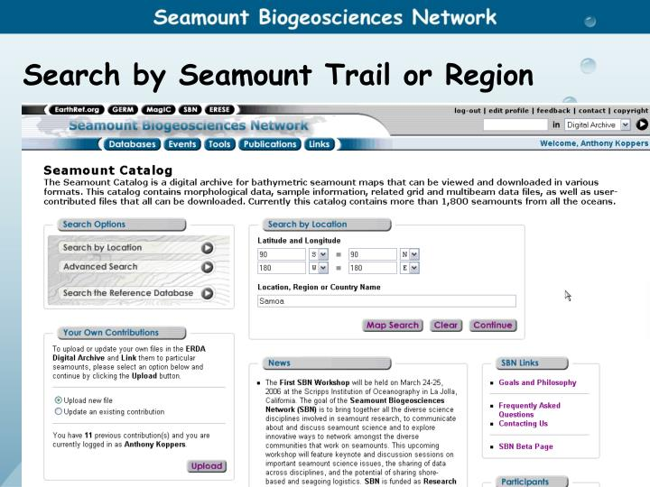 Search by Seamount Trail or Region