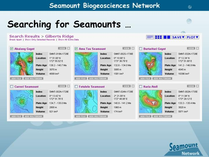 Searching for Seamounts …