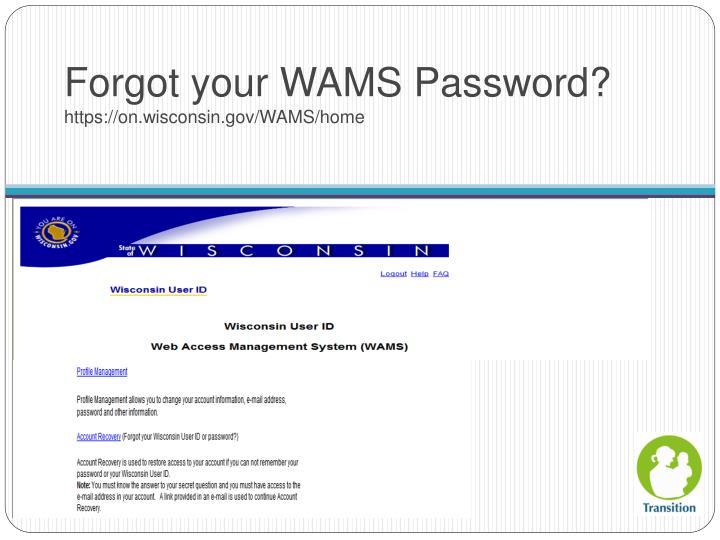 Forgot your WAMS Password?