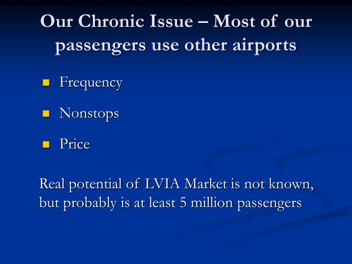 Our Chronic Issue – Most of our passengers use other airports