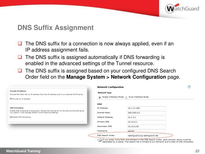 DNSSuffix Assignment