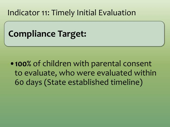 Indicator 11: Timely Initial Evaluation