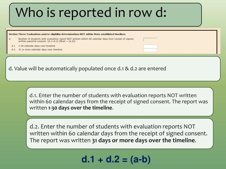 Who is reported in row d: