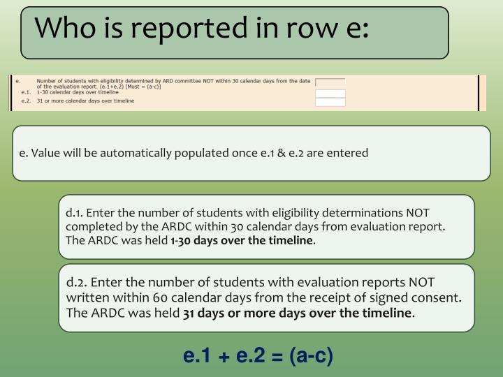 Who is reported in row e: