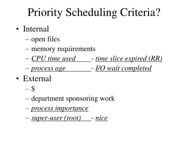 Priority Scheduling Criteria?