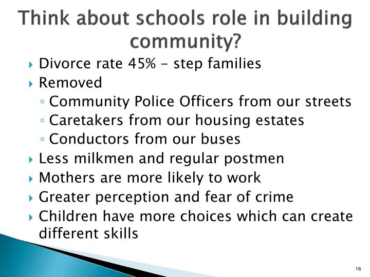 Think about schools role in building community?