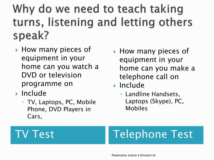 Why do we need to teach taking turns, listening and letting others speak?