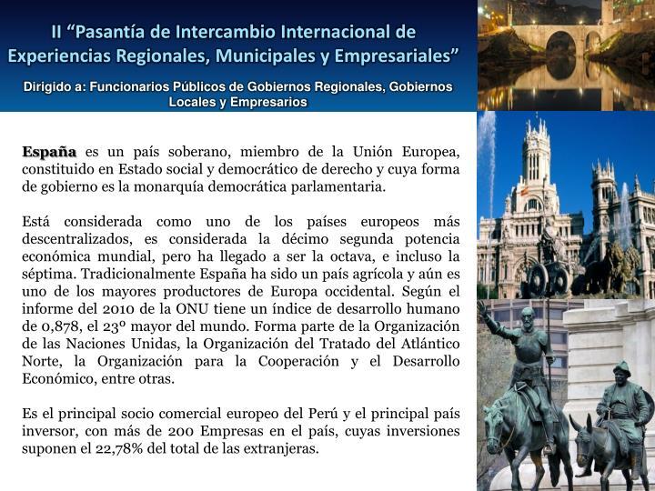 """II """"Pasantía de Intercambio Internacional de Experiencias Regionales, Municipales y Empresariales"""""""