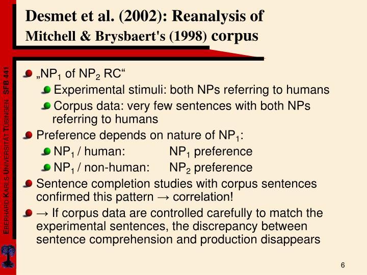 Desmet et al. (2002): Reanalysis of