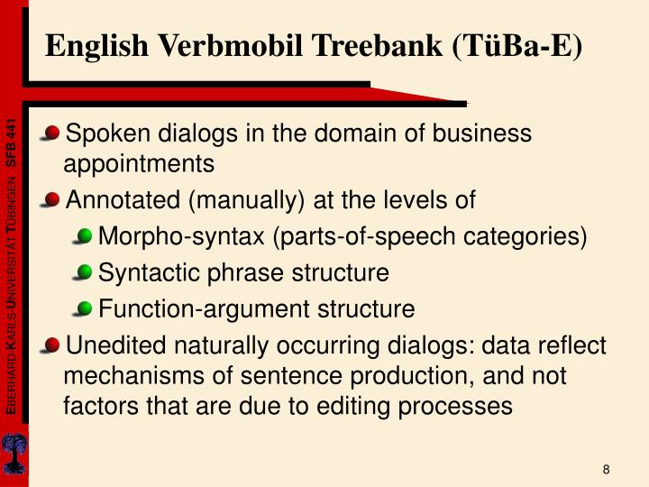 English Verbmobil Treebank (TüBa-E)