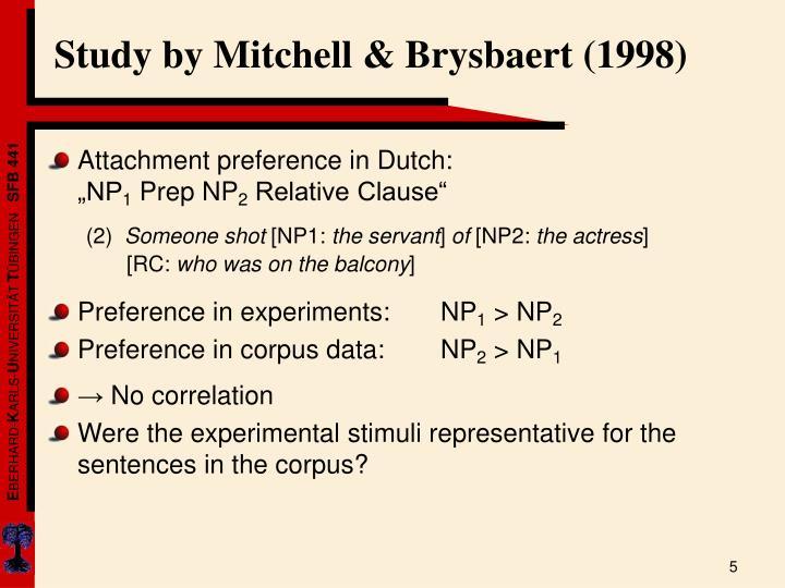 Study by Mitchell & Brysbaert (1998)