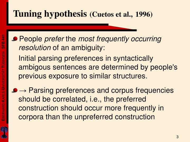 Tuning hypothesis
