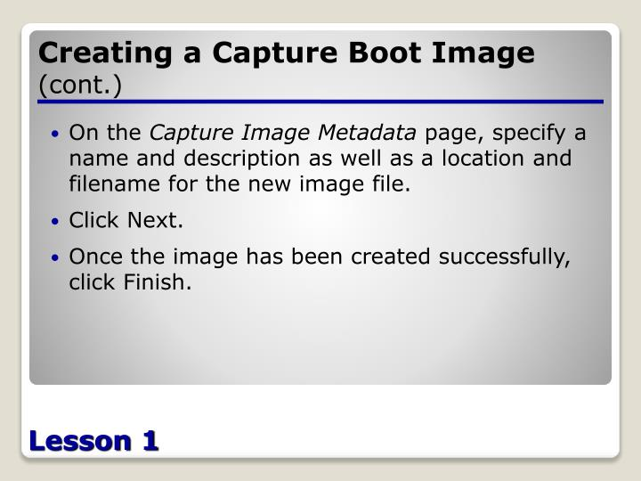 Creating a Capture Boot Image