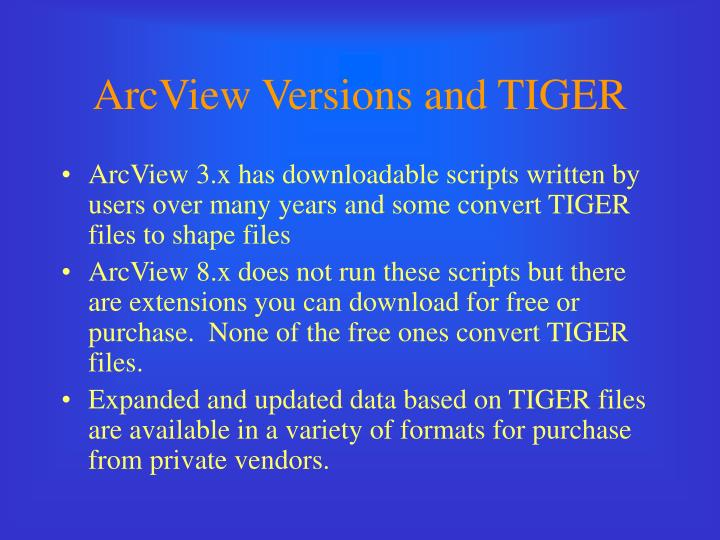 ArcView Versions and TIGER