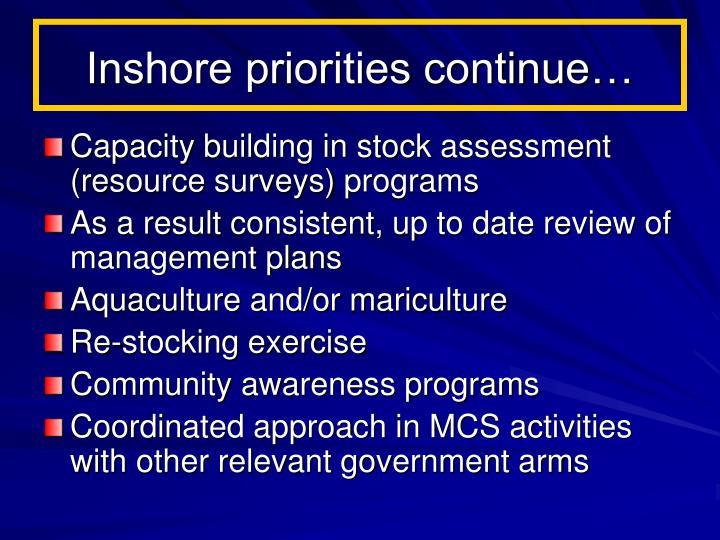 Inshore priorities continue…