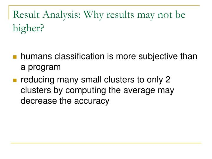 Result Analysis: Why results may not be higher?