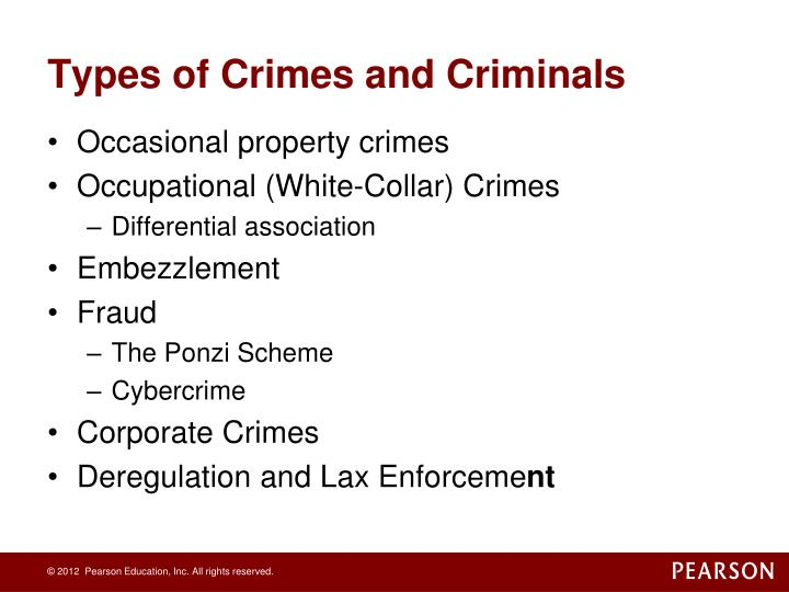 Types of Crimes and Criminals