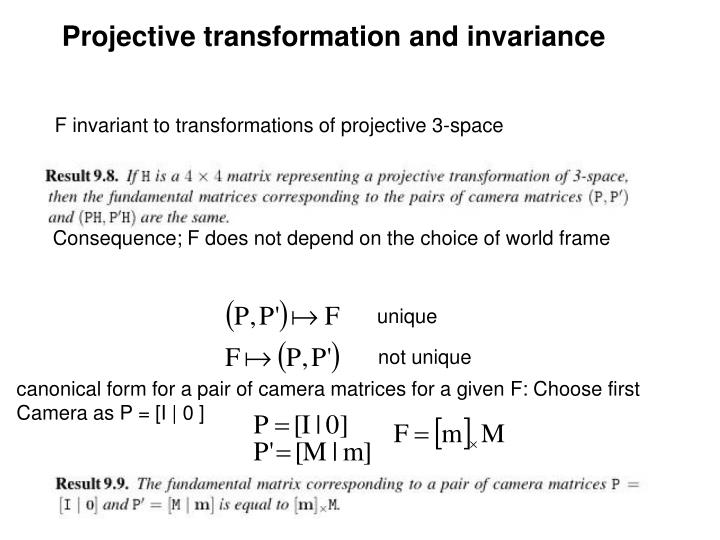 Projective transformation and invariance