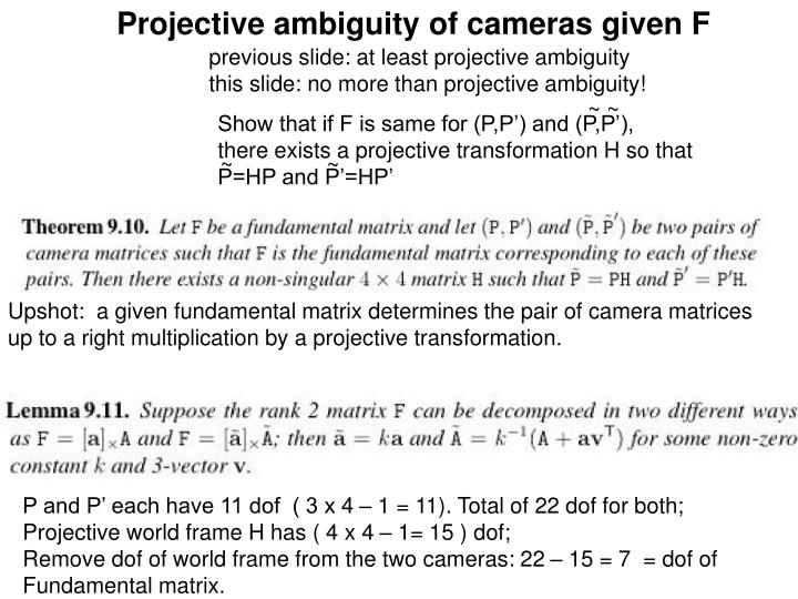 Projective ambiguity of cameras given F